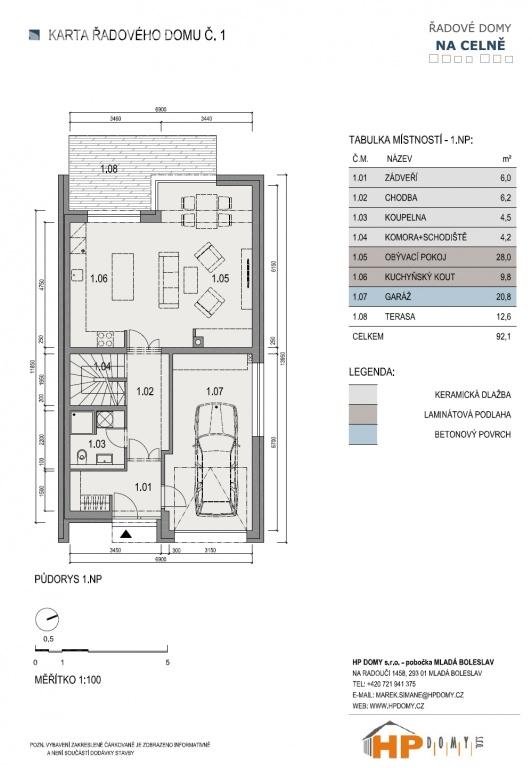 Projekt 14-ti řadových domů Na Celně – Mladá Boleslav, půdorys.