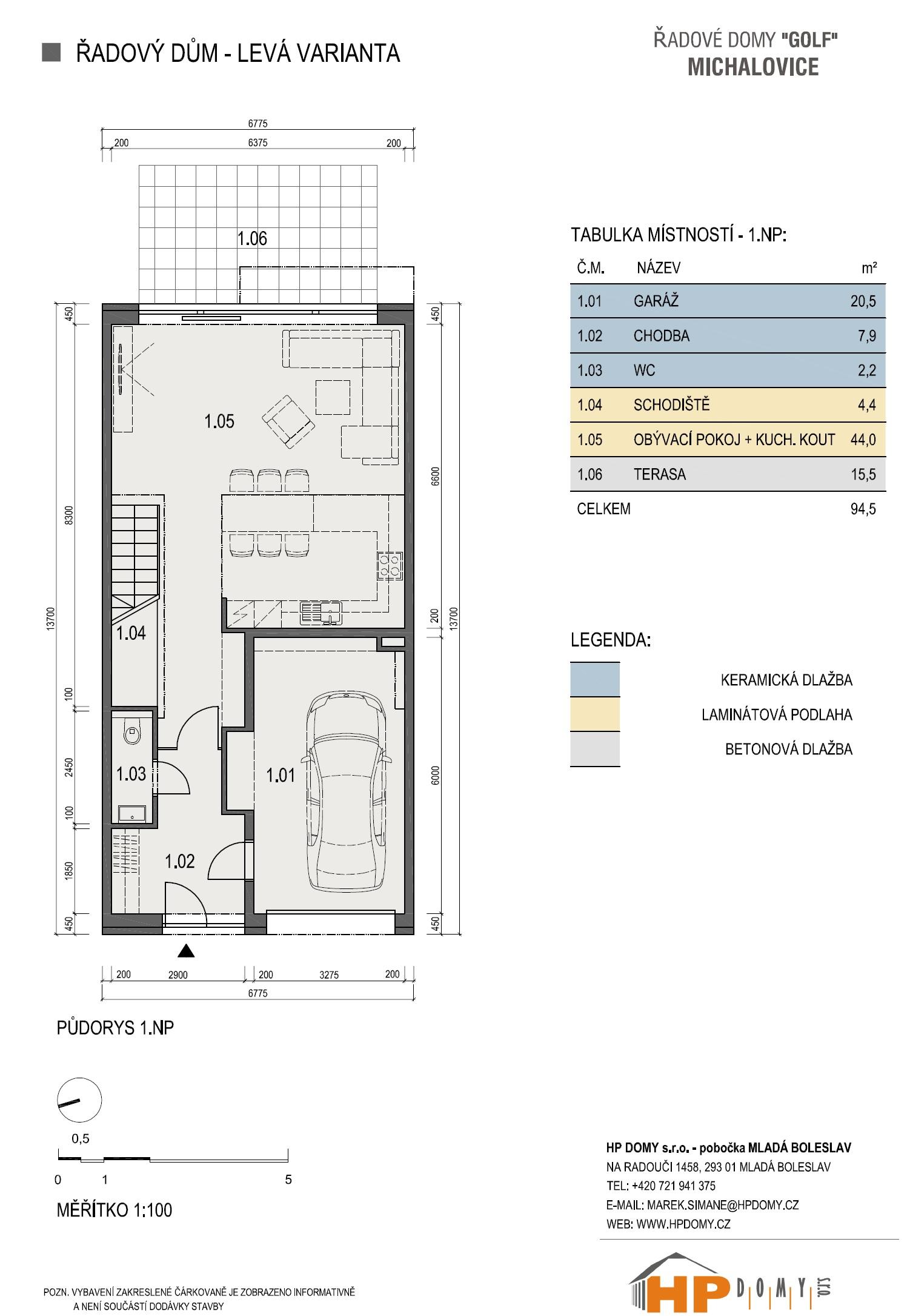 Michalovice - řadové domy od HP Domy: Půdorys