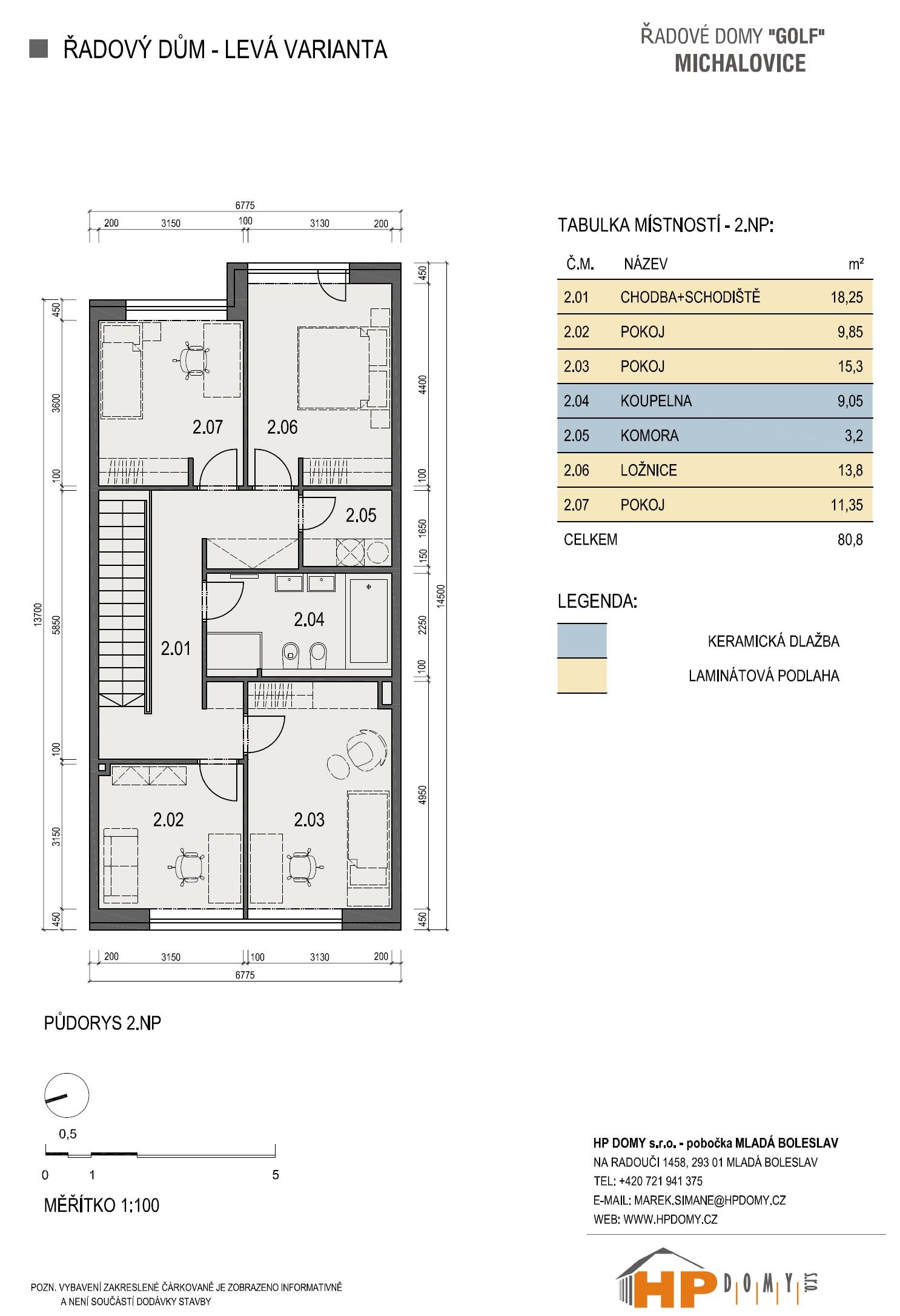 Michalovice - řadové domy od HP Domy: Půdorys 2np