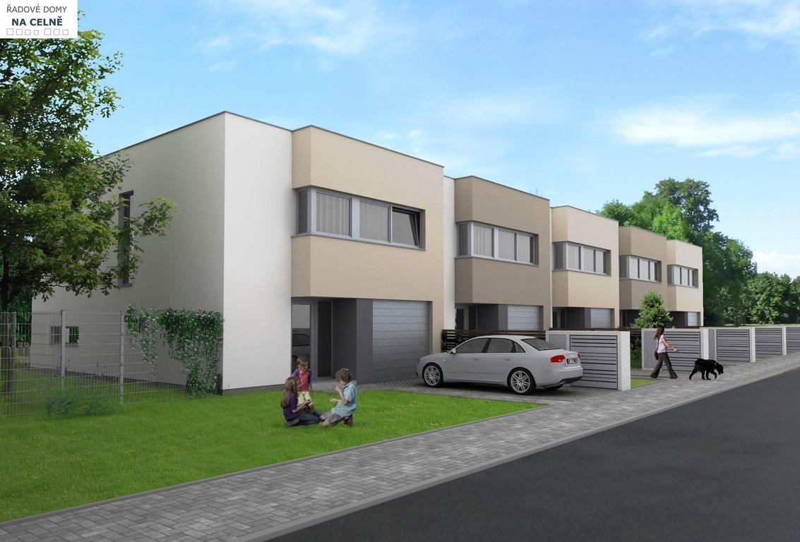 Pohled z ulice. Projekt 14-ti řadových domů Na Celně – Mladá Boleslav.